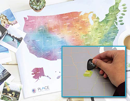 USA Scratch Off Map States & Capitals Travel Gift Scratch Reveals USA States and Capitals with 2 Scratch Picks and Travel Tube Fun Trivia Quiz for Family and Classroom Geography Education Game