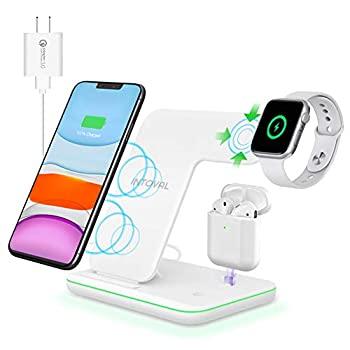 Intoval Wireless Charger 3 in 1 Charger for iPhone/iWatch/Airpods Qi-Certified Charging Station for iPhone 12/11/Pro/Max/XS/Max/XR/XS/X iWatch 6/SE/5/4/3/2 Airpods Pro/2/1  Z5,White