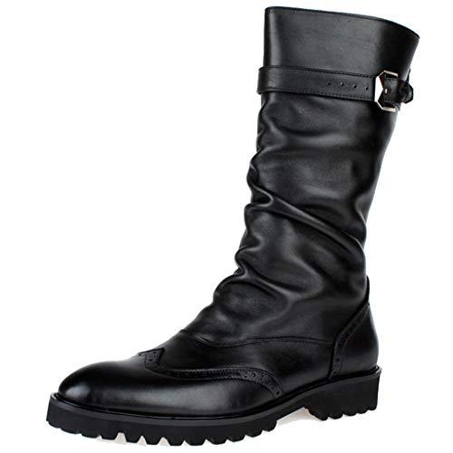 LIXIYU Mens midden kalf laarzen gesp riem lederen brogue laarzenmotorlaarzen met Zijrits Uniform laarzen