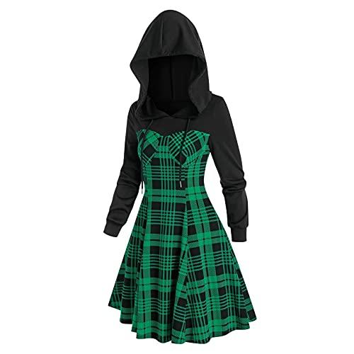 NISOWE Disfraz de Navidad para mujer, manga larga, con capucha, a cuadros, vestido de fiesta, verde, XL