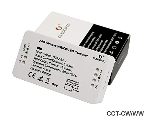 ZigBee Tira de LED Controlador de interruptor de luz, CCT Control Remoto de ZigBee Light Link Adaptador para 12-24V frío blanco cálido Strip, Philips Hue Bridge, Amazon Echo Plus, Lightify
