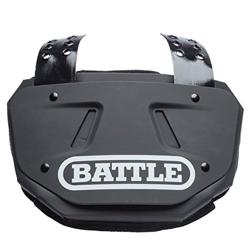 Battle Back Bone Back Plate – Rear Protector Lower Back Pads for Football Players – Backplate Shield with High Impact Foam Backing - Available in Youth and Adult Sizes, Black/White