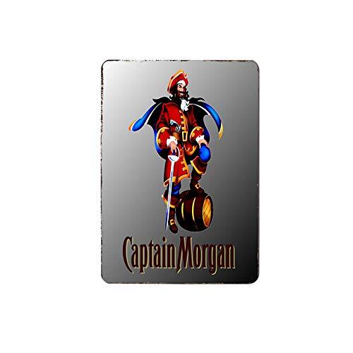 Skynine Inc Comic Captain Morgan Vintage Blechschild, 20 x 30 cm, Retro-Wanddekoration für Lounge/Bar/Café/Zuhause/Küche/Restaurant/Wohnheim/Garage/Männerhöhle/Tankstelle