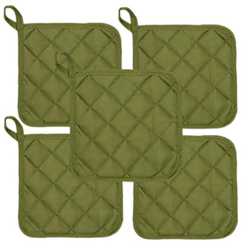 Sage Green Heat Resistant Pot Holders 6.5 Square Solid Color (Pack of 10) | Multipurpose Quilted Hot Pads Pot Holders For Everyday Quality Kitchen Cooking Chef Linens