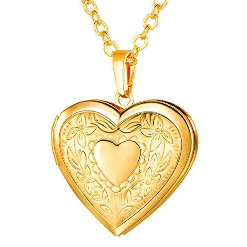 U7 Women Girls 18K Gold Plated Heart Photo Locket Pendant Necklace, 22' Chain
