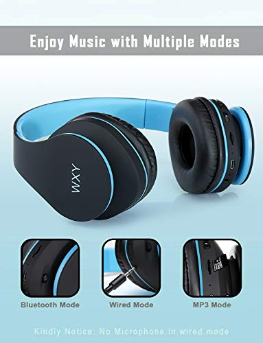 Over Ear Bluetooth Headphones, WXY Wireless Headset V5.0 with Built-in Mic, Micro TF, FM Radio, Soft Earmuffs & Lightweight for iPhone/Samsung/PC/TV/Travel(Black-Blue) 3