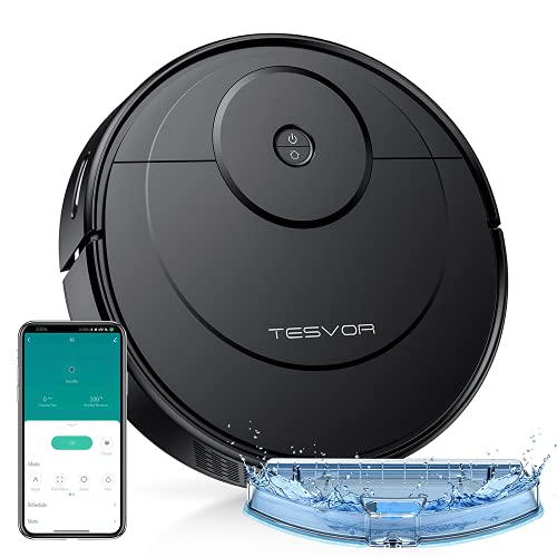 Tesvor A1 Robot Vacuum Cleaner, 2-in-1 Robotic Vacuum and Mop, Powerful Suction, Compatible with Alexa, Auto-Charging, Ultra Slim, Quiet, Ideal for Pet Hair, Hard Floors and Low-Pile Carpets