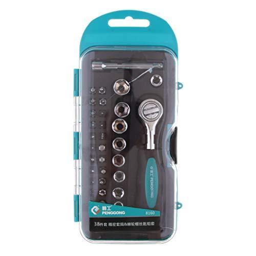 P Prettyia 38 Pcs Ratchet Socket Wrench Ratchet Case Nut Case, High Quality