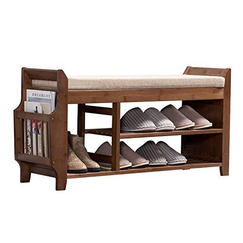GENFALIN 100% Banco de bambú Zapatero, de Nivel 3 Puerta de Entrada del Organizador del almacenaje con los Asientos, Zapatos de Plataforma Botas, Ideal for Pasillo Baño Cocina Sala de Estar Pasillo y