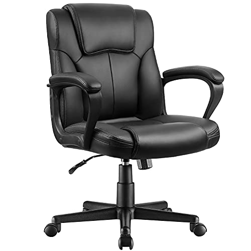 Pawnova Executive Office Chair Mid Back Swivel Computer Task Armrests,Ergonomic Leather-Padded Desk Seats with Lumbar Support, Black