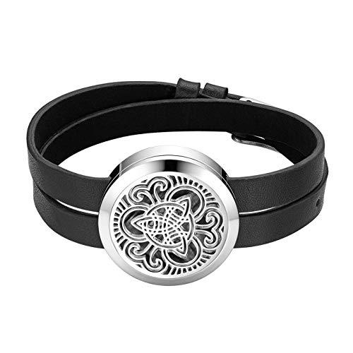 JewelryWe Schmuck Unisex Aroma Öl Diffusor Armband, Edelstahl Keltischer Knoten Aromatherapie Diffusor Locket Medaillon Lederarmband Armreif mit 6 Pads, Schwarz Silber