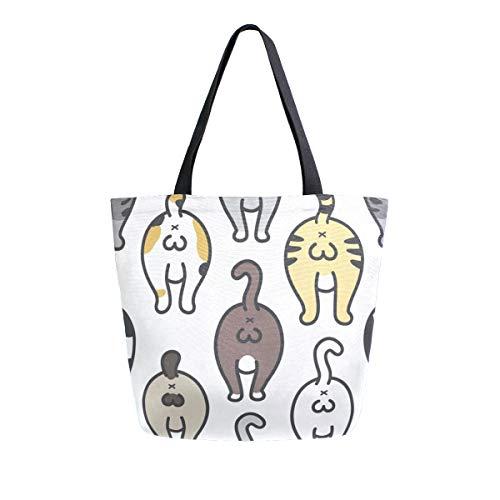 Cartoon divertente animale hip tela Tote bag riutilizzabile borse della spesa Tote bag con maniglie