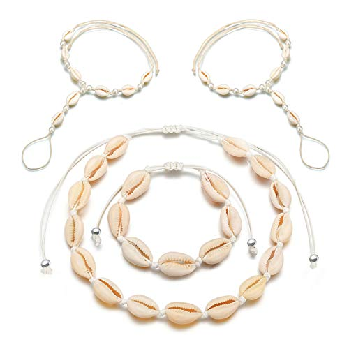 opove Shell Jewelry Set,Puka chip Shell Choker Necklace/Bracelet Natural Seashell Earrings Mermaid - http://coolthings.us