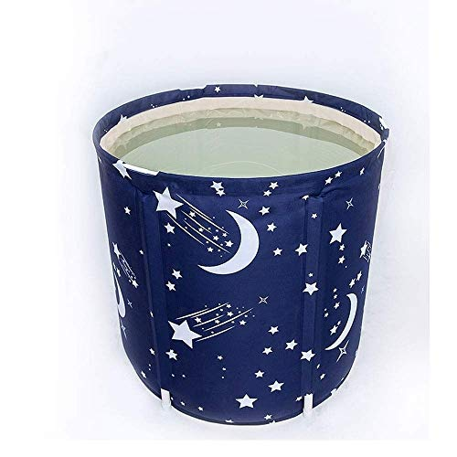 Barir Tragbare Faltbare Badewanne Freistehende Badewanne Kunststoffbadewanne for Duschkabine, Verdickung mit Thermoschaum, um die Temperatur zu halten, Dschungel Bedruckt (Color : Blue)