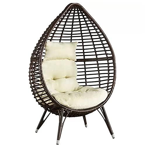 RSTJ-Sjcw Patio Zero Gravity Rattan Lounge Chair Outdoor Runde PE Ratttan Eierstuhl Bali Beach Sun Lounger für Poolside Porch Balcony Yard Deck Rawn Poolside oder innen