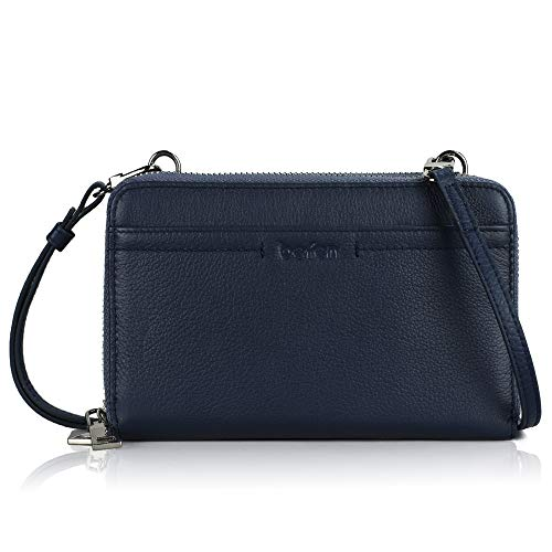 Befen Navy Blue Leather Smartphone Zip Around Large Crossbody Wallet with RFID Blocking Card Slot and ID Window for Women
