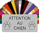 GRAVURE CONCEPT Plaque Attention Au Chien – Plaque De Maison PVC Adhésive 10 x 5 cm – 3 Couleurs Disponibles (Gris)