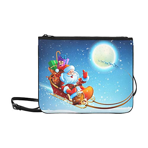 WYYWCY Weihnachtsmann-Schlitten-kundenspezifische hochwertige Nylon-dünne Handtasche Umhängetasche mit Umhängetasche