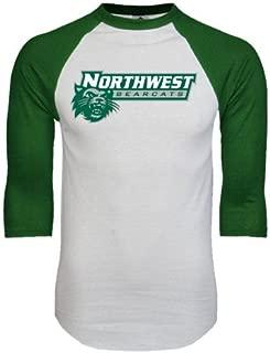 CollegeFanGear Northwest Missouri State White/Dark Green Raglan Baseball T-Shirt 'Northwest Bearcats w/Cat'