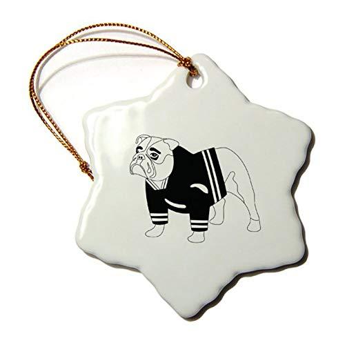 Weihnachtsdekoration, Weihnachts-Baum-Ornament, Bulldogge in Hockey-Jersey, schwarz, beide Seiten, Stern, Keramik, Ornament, Basteln, Thanksgiving