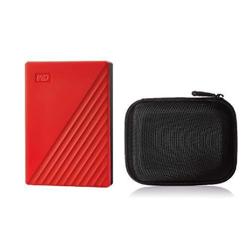 【セット買い】WD ポータブルHDD 5TB USB3.0 レッド 暗号化 パスワード保護 My Passport 2019モデル WDBPKJ0050BRD-WESN & Amazonベーシック HDD ケース ポータブルHDD キャリングケース