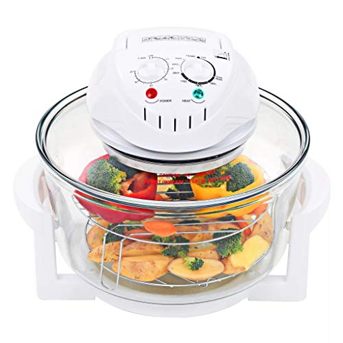 Yestop 12-17 Quart Halogen Convection Oven with Extension Ring Glass, for Roasting/ Grilling/ Baking/ Cooking (1400W)