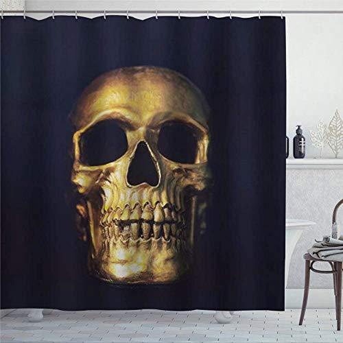 EricauBird Duschvorhang Totenkopf Skelett Gruselige Augen Goldener Schädel Duschvorhang mit Ringen Polyestergewebe Duschvorhänge mit Haken 182,9 x 182,9 cm