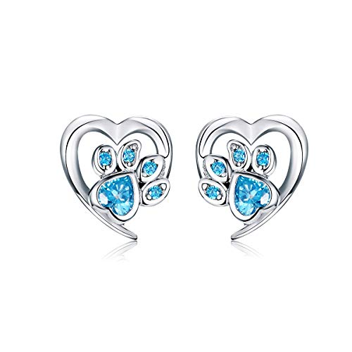 Cute Puppy Dog Cat Paw Print Stud Earrings S925 Sterling Silver Lovely Pink Crystal Clear CZ Endless Love Heart Earring Studs Hypoallergenic Jewelry Gifts for Pet Lovers Little Girls Women (Blue CZ)