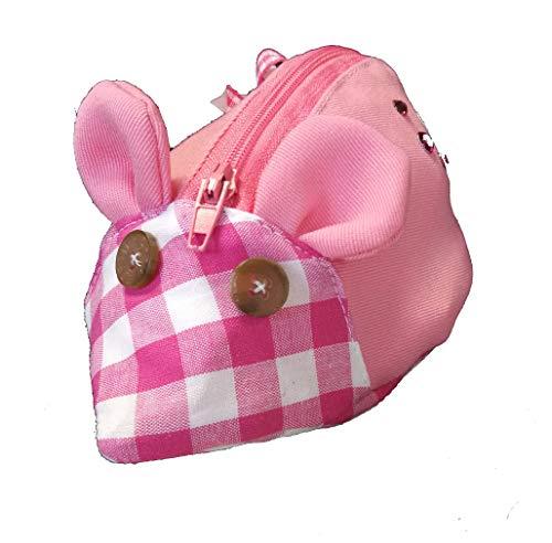 """Handmade Dirndltasche """"Maus"""" mit Reißverschluss zum Anklippen [14] Rosa Pink Strass Schleife Tracht kariert"""