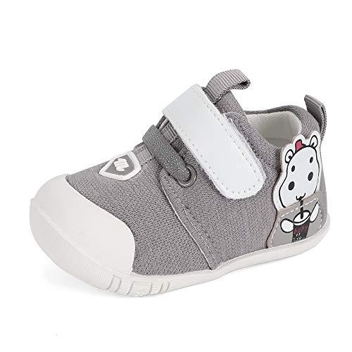 MASOCIO Babyschuhe Junge Lauflernschuhe Baby Schuhe für Jungen Sneaker Anti-Rutsch 12-18 Monate Grau Größe 19,5