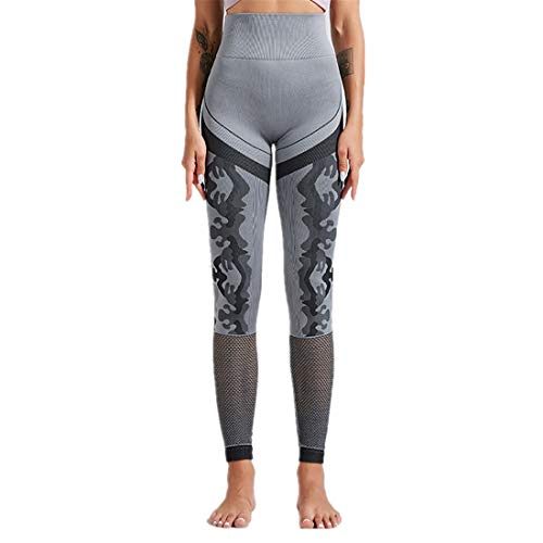 Fyj Ladies Sexy Hollow Fishnet Leggings Elastic Exercise Quick Dry Sports Gym Trousers Fitness Running Leggings,Jumpsuit Athletic Skinny Girls Slim Running Fitness Stretch Trouser Pants 2020 L