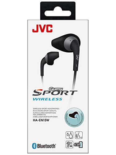 JVC HA-EN15W-B-U. Auricular botón con Ajuste Seguro y cómodo. Autonomía de hasta 6,5 Horas. Resistencia al Sudor. Cable antienredos. Bluetooth. Color Negro.