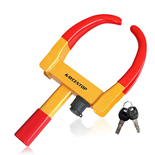 Wheel Clamp Lock Universal Security Tire Lock Anti Theft Lock Fit Most Vehicles, Max 10' Tire Width And 7.5' Reach, For Trailers Suv Boats Atv'S Motorcycles Golf Cart Great Deterrent Bright Yellow/Red