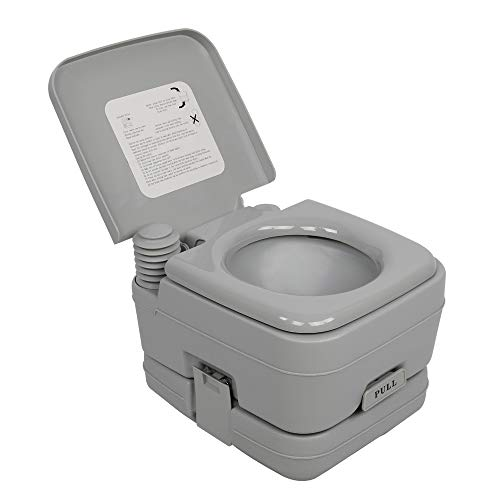 YYAO Portable Toilet Outdoor Travel Toilet Camping Porta Potty,2.6 Gallon 10L Portable Removable Flush Toilet RV Toilet for Camping,Hiking,Boating or Other Outdoor Activities,Gray