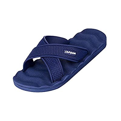WENBER Shower Sandals Men's Quick Drying Bathroom Slippers (12 M US, Blue/Male/Cross)