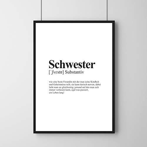 Schwester Definition - Poster   Sister   Wörterbuch Dictionary   DIN Größen   Wandbild ohne Rahmen (DIN A4-21 x 29,7 cm)
