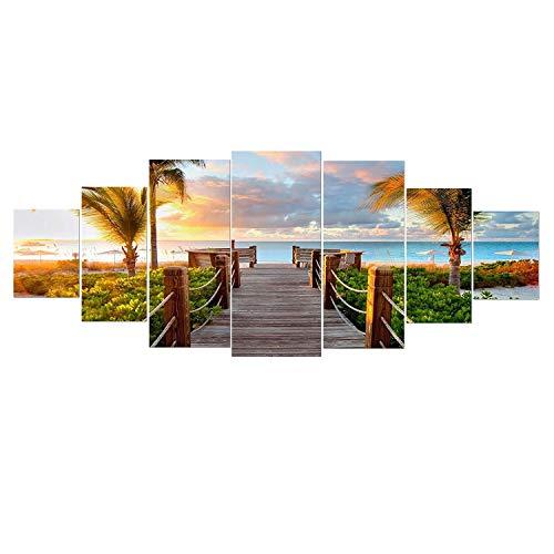 Startonight Grande Quadro su Vetro Acrilico - Spiaggia Tropicale - Moderno Stampa xxl di 7 Parti 90 x 240 cm