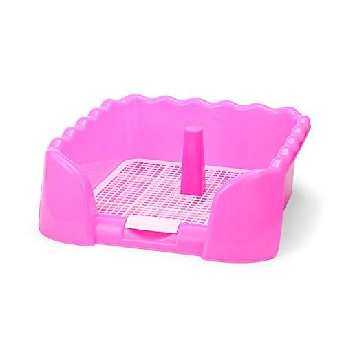 Leobtain - Bandeja para cachorros con forma de onda para orinal con soporte extraíble para gatos y perros
