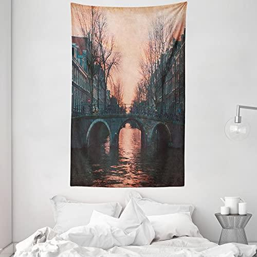 ABAKUHAUS Landschaft Wandteppich & Tagesdecke, Amsterdam Weinlese-Brücke, aus Weiches Mikrofaser Stoff Dreck abweichender Digitaldruck, 140 x 230 cm, rosa-Grau