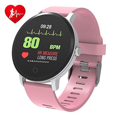 BingoFit Fitness Armbanduhr Wasserdicht Smart Watch Fitness trackers Sport Uhr mit Schrittzähler, Pulsmesser, Kamerasteuerung, Musiksteuerung, Schlaf-Monitor, Call SMS Android iPhone Handy (Rosa)