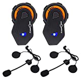 FreedConn Motorrad Headsets, Bluetooth Helm Intercom Vollduplex Sprechanlage Walkie Talkie 6 Fahrer Gruppe Intercom Communicator Headset 1000M|FM Radio|Voice Prompt (2 Packs)