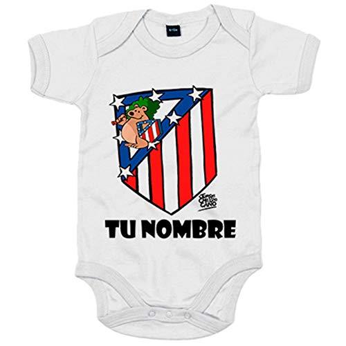 Body bebé Atlético de Madrid El Escudo del Atleti clásico personalizable con nombre - Blanco, 6-12 meses