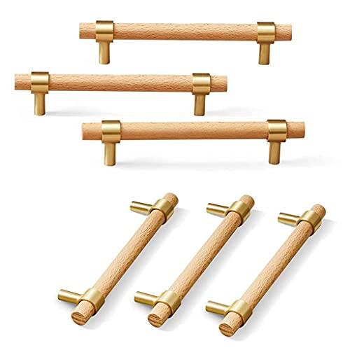 Tiradores de armario Manija de puerta Manijas de puertas del gabinete, 6 piezas de madera de haya mango, hardware de mango de latón macizo dorado, adecuado para tocador, librería, diversos caj