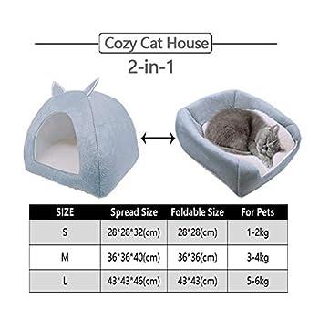 ZhiTianGroup Pliable Cat Bed Location Warming Maison d'intérieur avec Cat Amovible Matelas Puppy Cage Lounger Sofa nid de Chat (Color : Gray, Size : M 36CMx36CMx40CM)