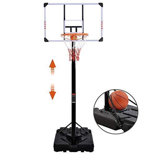Canasta de baloncesto ajustable con ruedas, base rellenable de agua/arena, canasta de baloncesto de altura regulable de 225 a 305 cm, para uso en interiores y exteriores, para adultos y niños