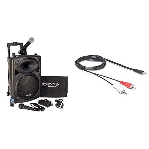 "Ibiza Sound PORT10VHF-BT Sistema de sonido portátil y autónomo de 10""/25 cm, 500 W, color negro + DeLOCK 84212Cable audio mini Jack (3.5mm/2 x RCA, 3.5mm, 2 x RCA),5 m"