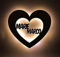 """Ambientelicht/Dekolicht""""Liebe"""" personalisiert mit Namen - mit LED Beleuchtung - das perfekte Jahrestag-/Hochzeitsgeschenk für Verliebte - optional mit Lackierung"""