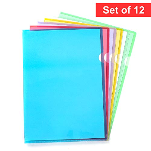 Poly Project Pocket, Letter Size, Clear Document FolderAssorted Colors, 12/Pack by Klasikok
