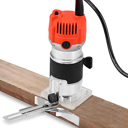 30000R/MIN Wood Trimmer Electric Wood Trimmer Wood Laminator Router Tool Set Electric Wood Router Professional Slotting Trimming Grooving Machine for Woodworker Carpenter UK Plug 220V 580W