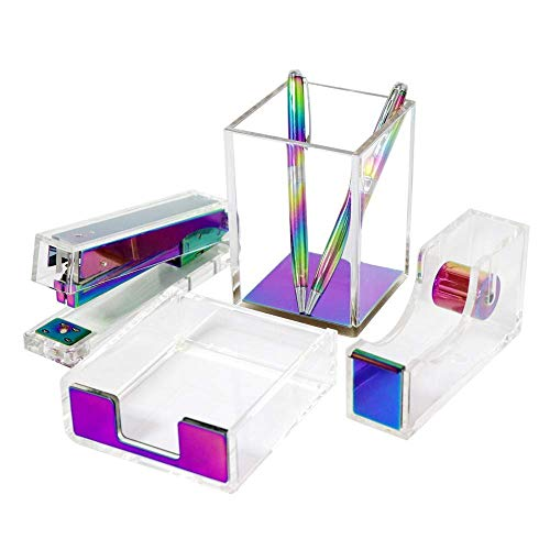 Multibey Acrylic Office Supplies Desk Accessories Organization Kit Gift Set for Women Adhesive Tape Dispenser Stapler Staples Sticky Note Memo Holder Pen Holder Pencil Cup,Rainbow